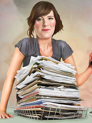 Pop Portrait of woman with a stack of papers infront