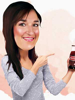 Pop Portrait of woman pointing to bottle